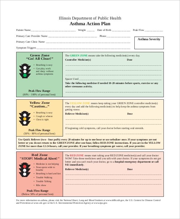 Sample Asthma Action Plan   Examples In Word Pdf