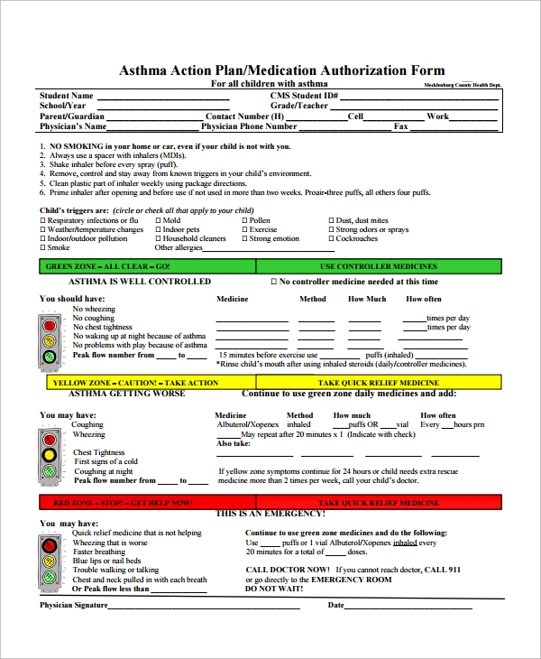 my asthma action plan template - 9 asthma action plan samples sample templates