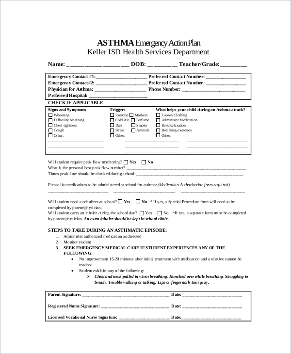 emergency asthma action plan