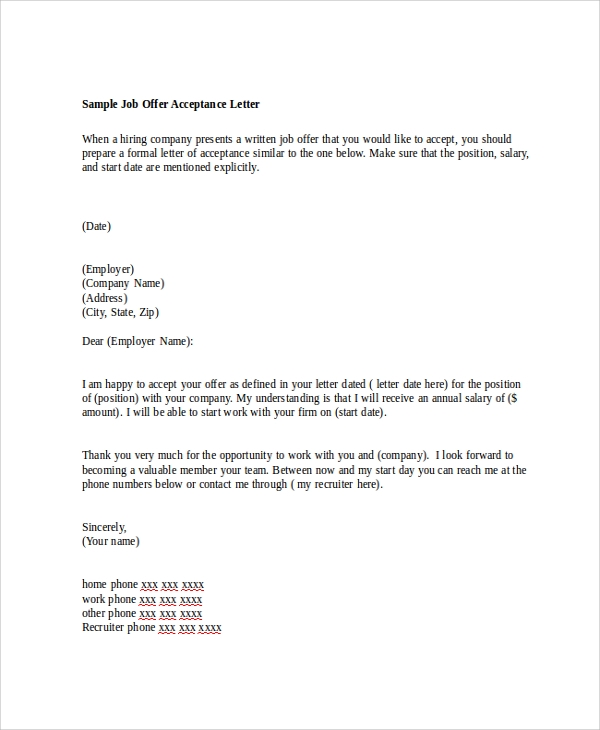 Sample Job Offer Letter - 8+ Examples In Word, Pdf