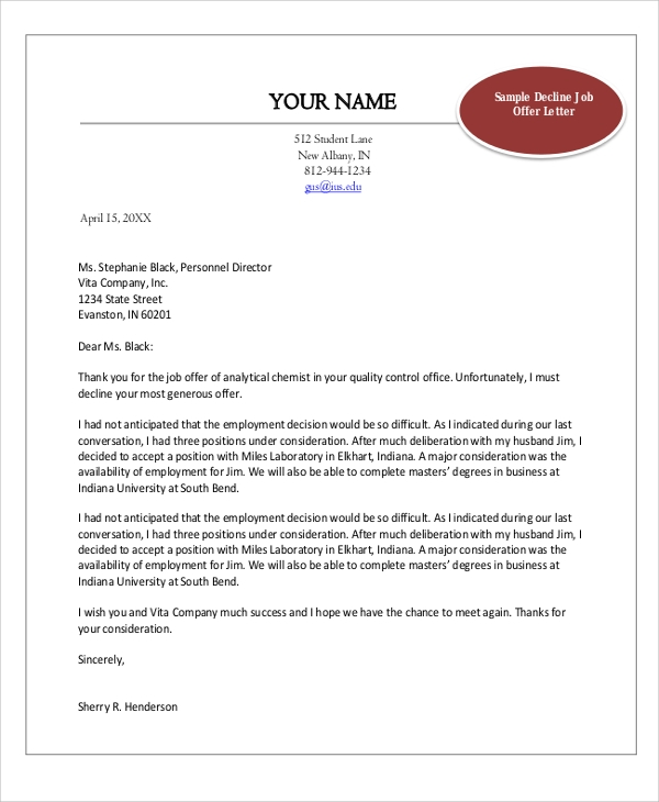 Decline Job Offer Letter Sample
