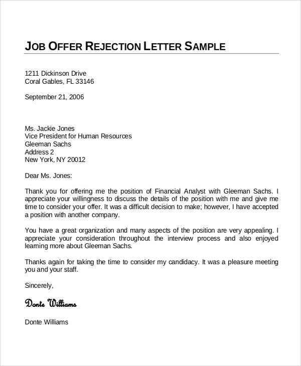 Accepting Job Offer Letter Sample  Template