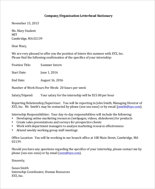 Sample Job Offer Letter   Examples In Word Pdf