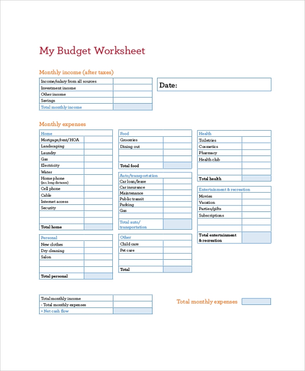 Sample Monthly Budget   Examples In Pdf Word Excel