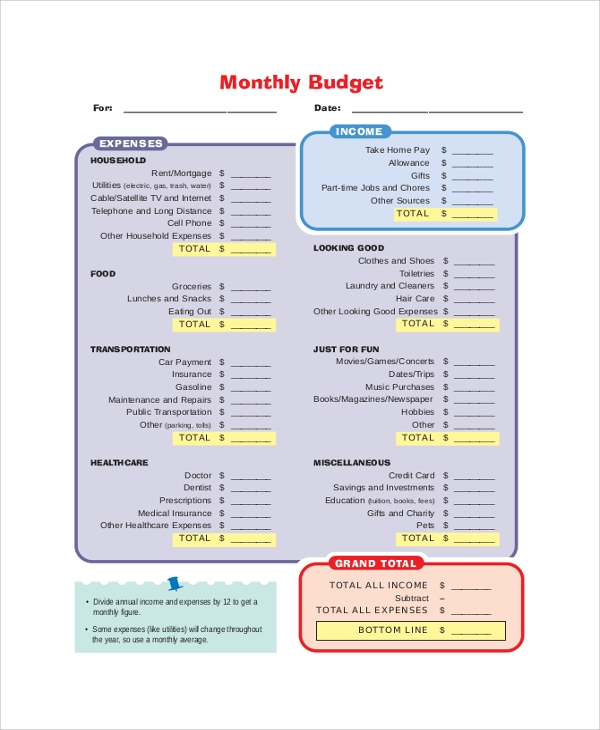 budget monthly expenses