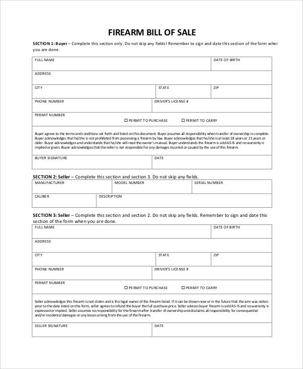 bill of sale for firearm