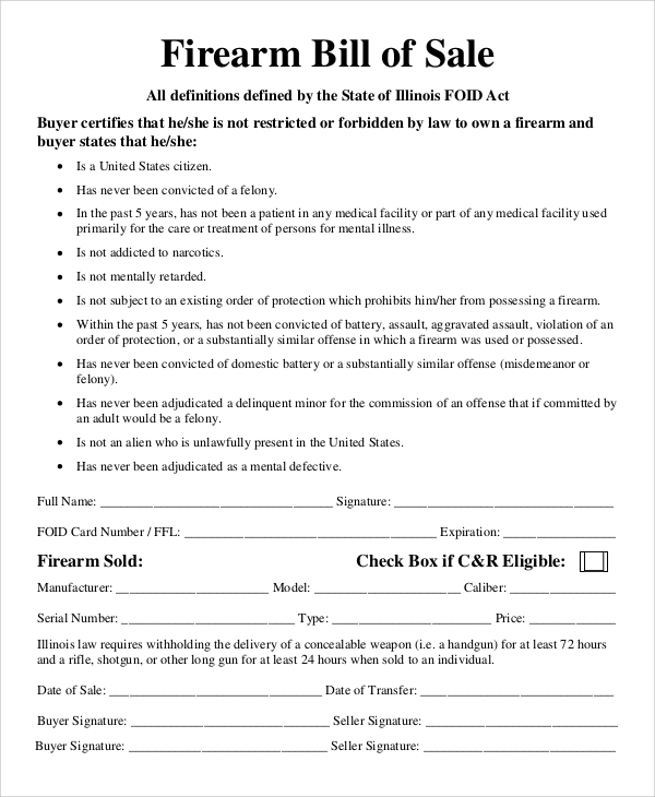 Marvelous Sample Firearm Bill Of Sale Form