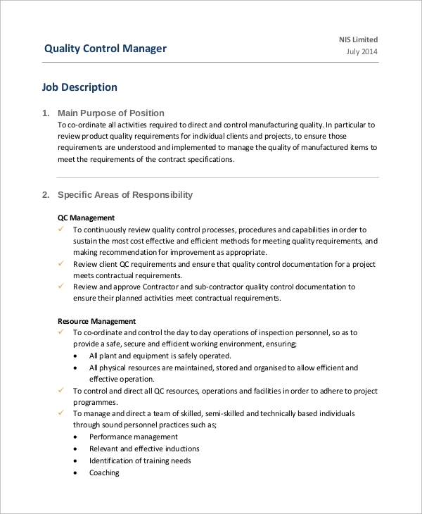 Plant Manager Job Description Front Office Manager Job – Quality Control Job Description