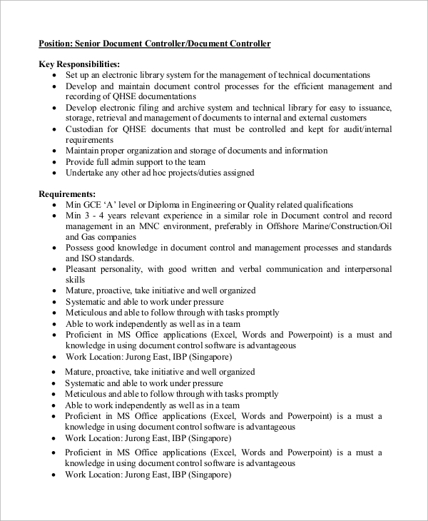 Sample Controller Job Description   Examples In Word Pdf