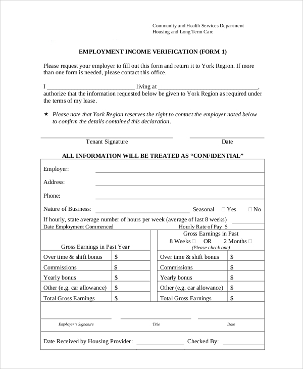 Sample Employment Income Verification Form