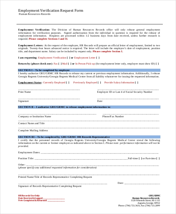 Sample Employment Verification Form - 8+ Examples In Word, Pdf