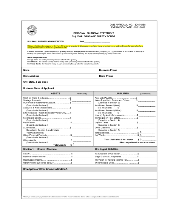 personal financial statement form sample - Personal Financial Statement Forms