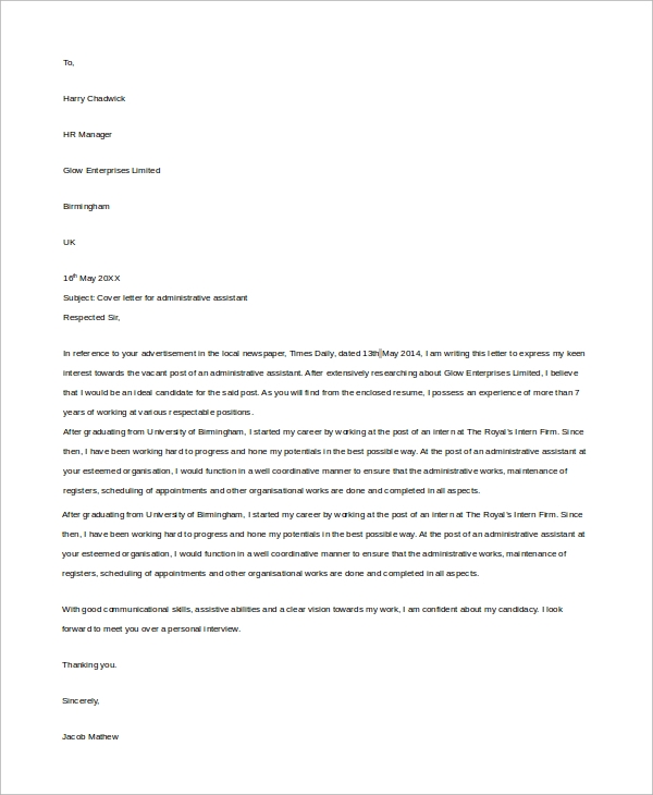 Sample Administrative Assistant Cover Letter   Examples In Word Pdf
