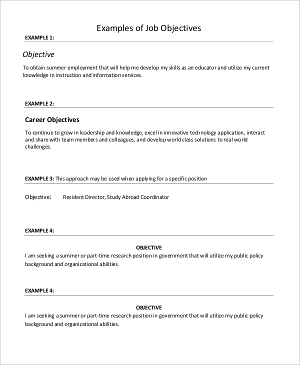 job resume objective example1