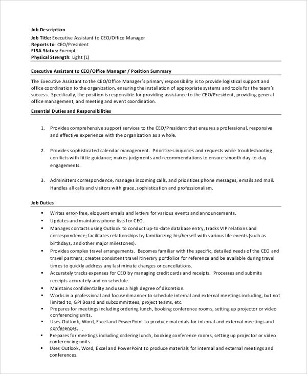 8 ceo job description samples sample templates - Office manager assistant job description ...