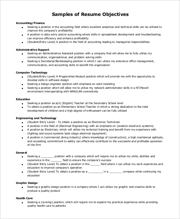 Resume Resume Objective Examples In General sample resume objective example 7 examples in pdf general example