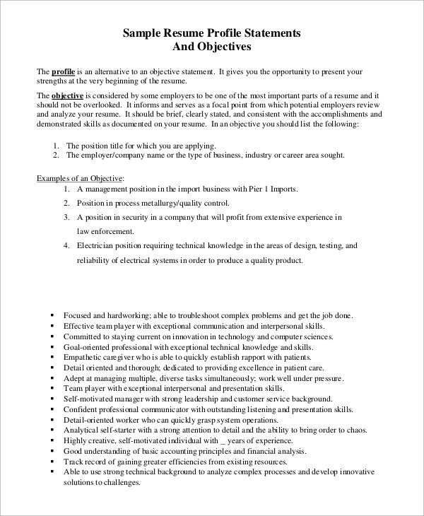 free 7  sample resume objective examples in pdf