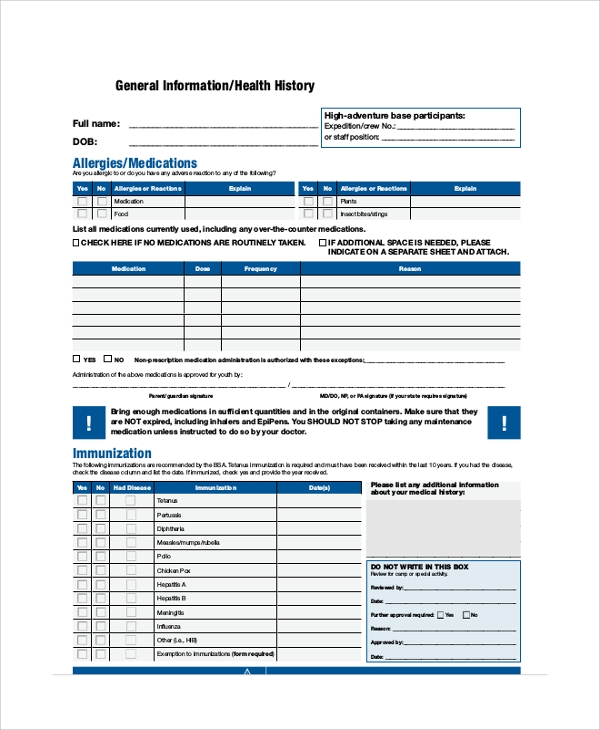 Sample BSA Medical Form 8 Examples in PDF Word – Bsa Medical Form