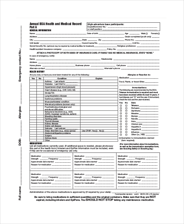 Sample Bsa Medical Form   Examples In Pdf Word