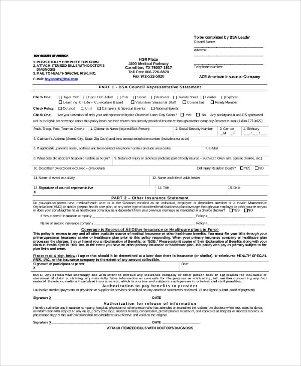 Sample Bsa Medical Form - 8+ Examples In Pdf, Word