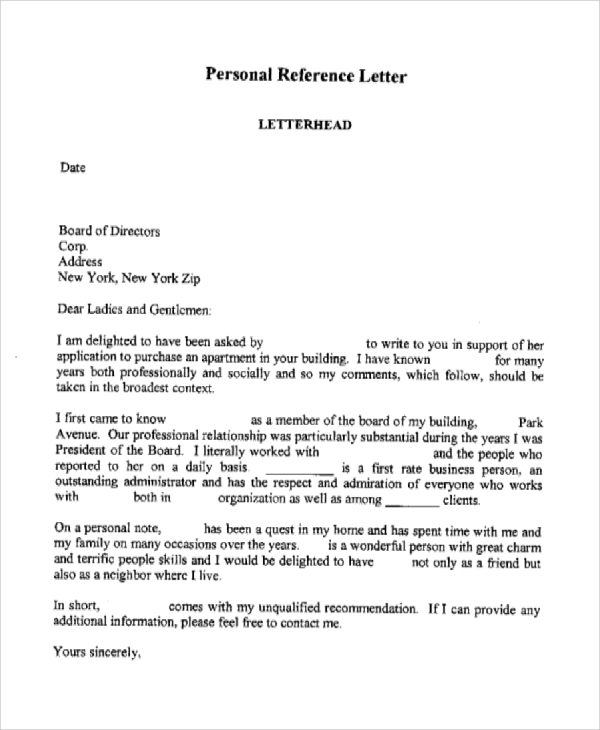 Personal Reference Letter Sample | Medicalassistant.Us