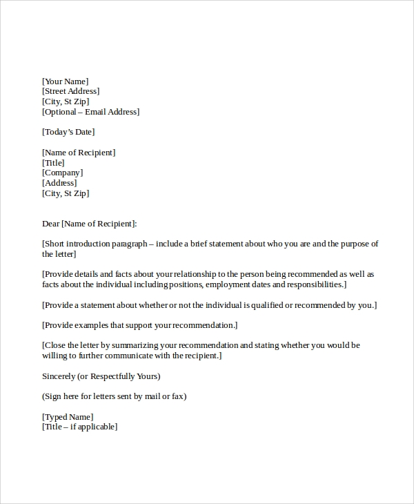 Sample Personal Reference Letter 7 Examples in Word PDF