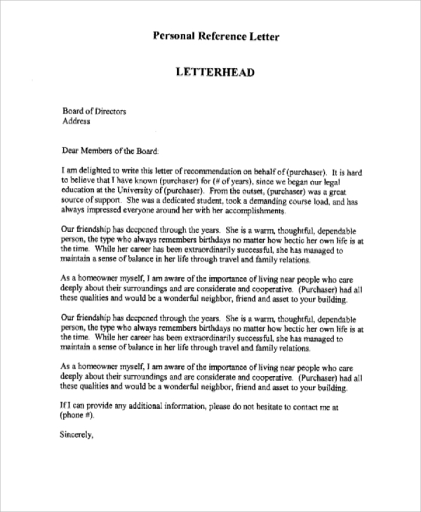 Sample Personal Reference Letter   Examples In Word Pdf