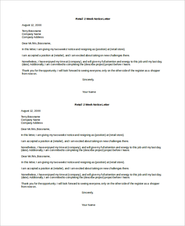 Sample 2 Week Notice Letter - 8+ Examples In Word,Pdf