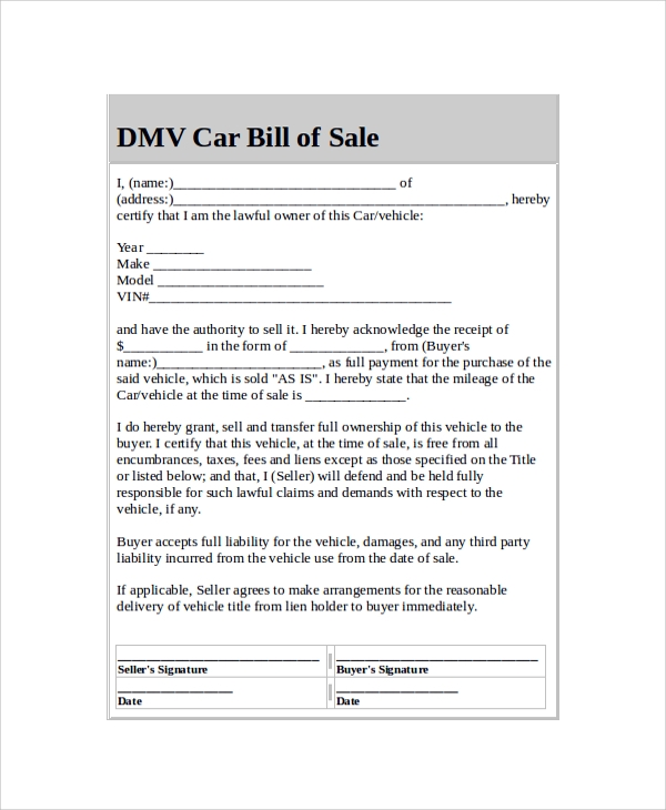 Sample Dmv Bill Of Sale   Examples In  Word