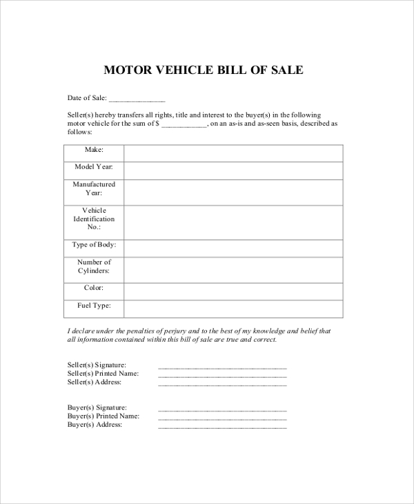 Sample Dmv Bill Of Sale   Examples In Pdf Word