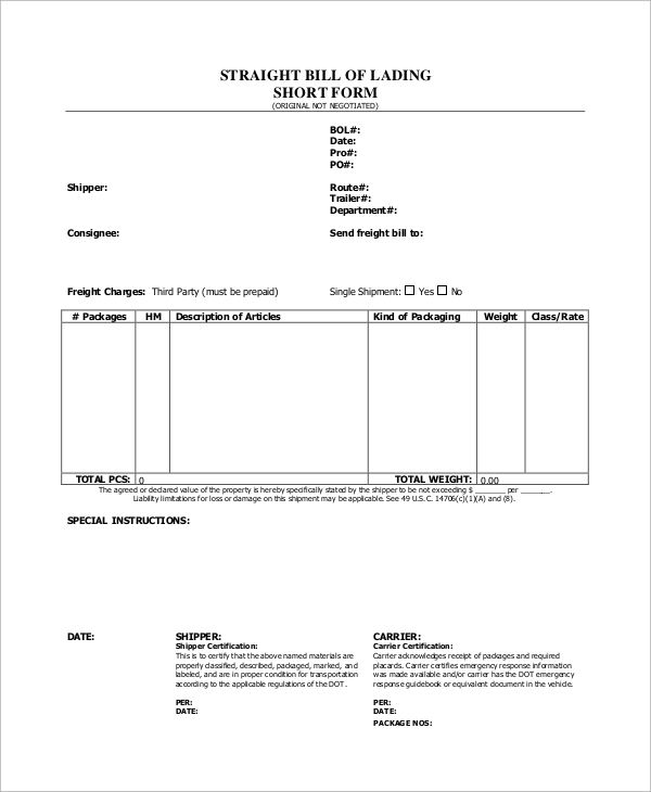 Sample Bill Of Lading Form   Examples In Word Pdf
