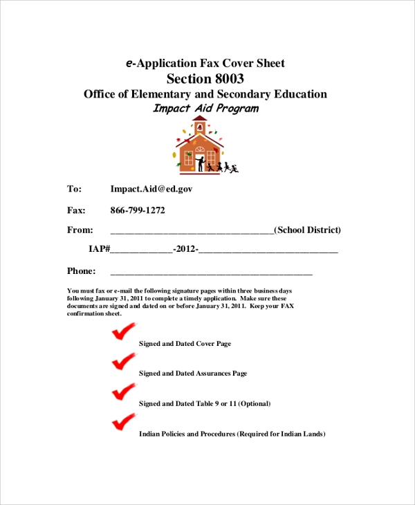 printable e application fax cover sheet
