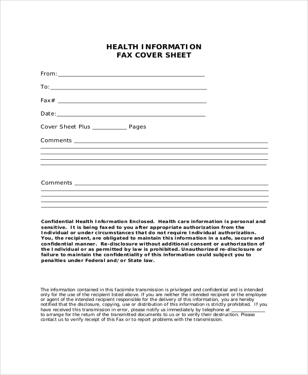 printable health information fax cover sheet
