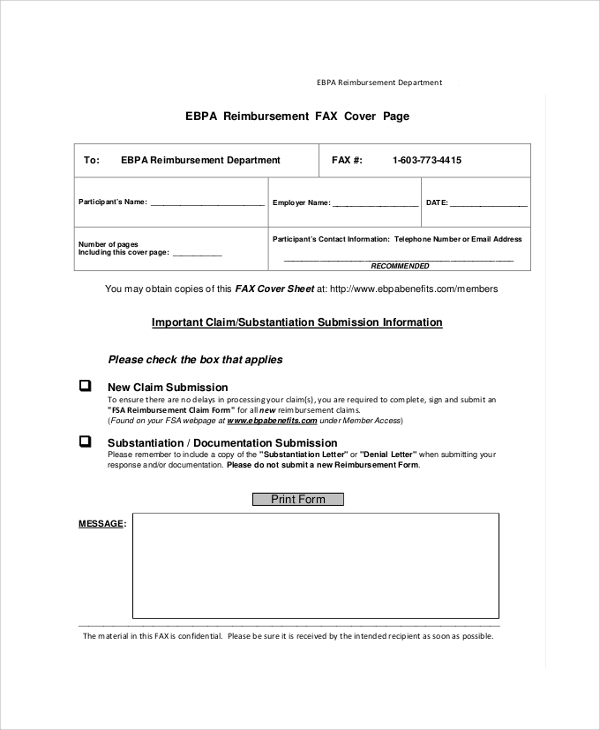printable reimbursement fax cover sheet