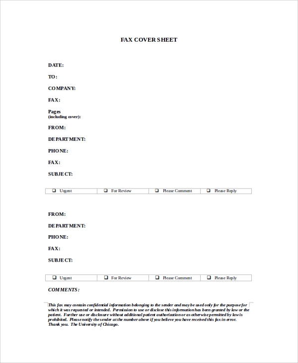 printable fax cover sheet format