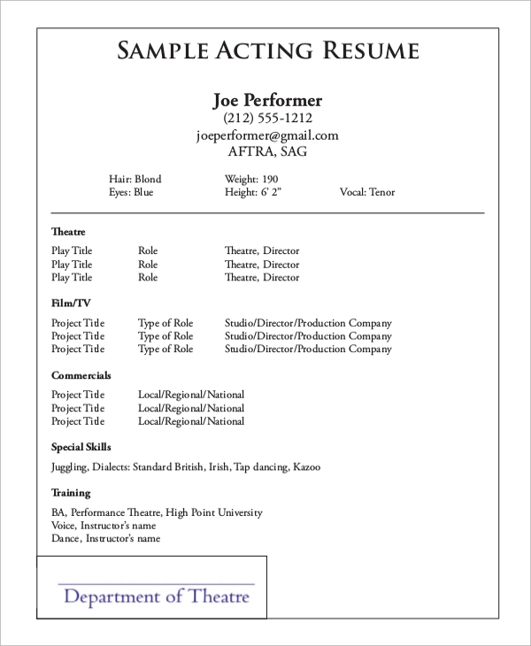 special skills for acting resume - Sample Theater Resume