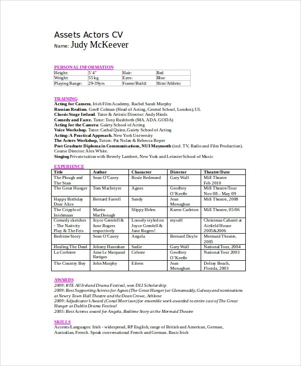acting resume with experience - Theatre Resume