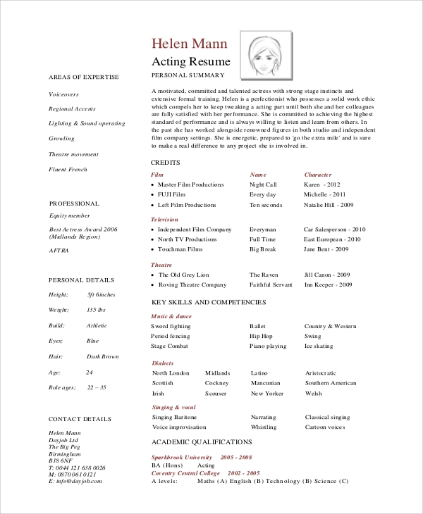 Sample Acting Resume 7 Examples in Word PDF – Acting Resume