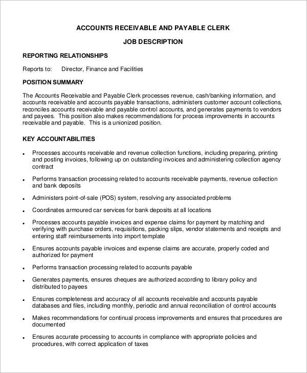 free 9  sample accounts payable job description templates