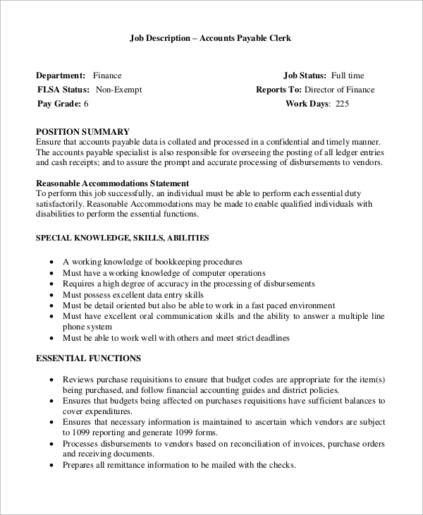 job description for accounts payable specialist