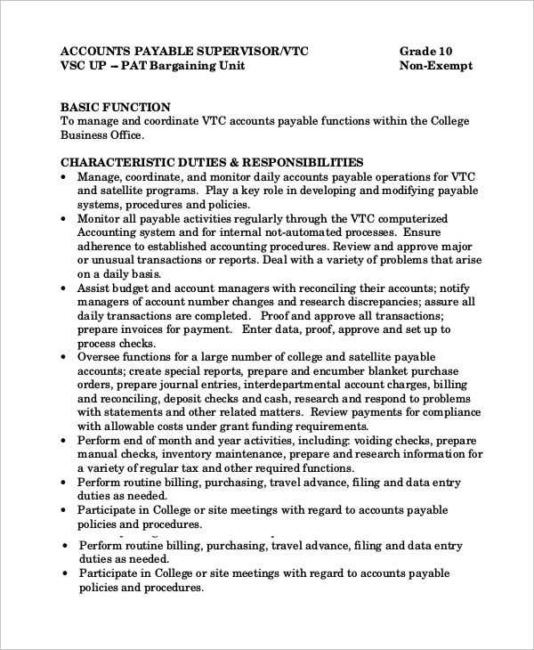 Sample Accounts Payable Resume Er Registrar Sample Resume ... Accounting  Clerk Job Description ...