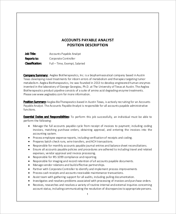 Sample Accounts Payable Job Description   Examples In Word Pdf