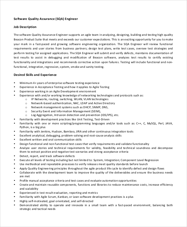 Quality Engineer Job Descriptions | Sample Software Engineer Job Description 8 Examples In Pdf