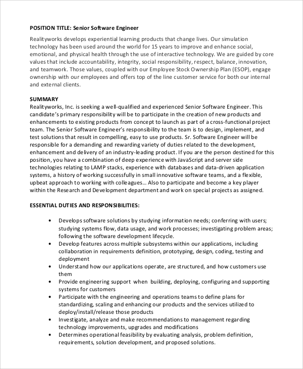 Senior Software Engineer Job Description Sample