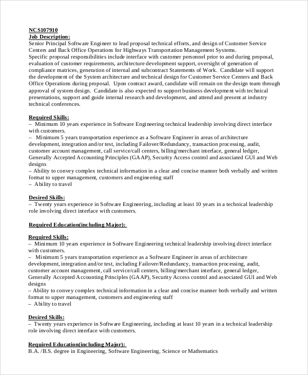 principal software engineer job description