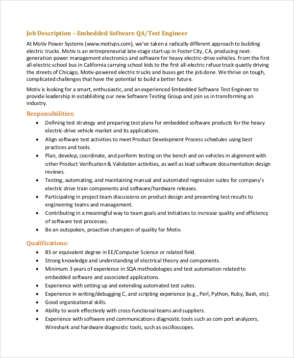 Sample Software Engineer Job Description - 8+ Examples In Pdf