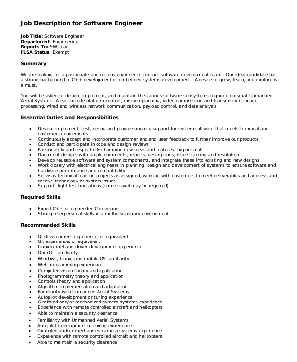 sample software engineer job description 8 examples in pdf - Responsibilities Of A Software Engineer