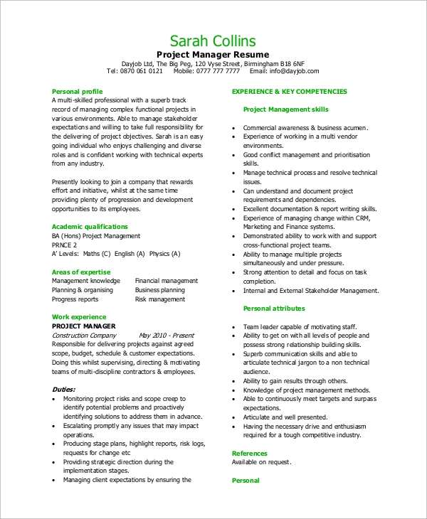 8+ Sample Project Manager Resumes – PDF, Word | Sample Templates