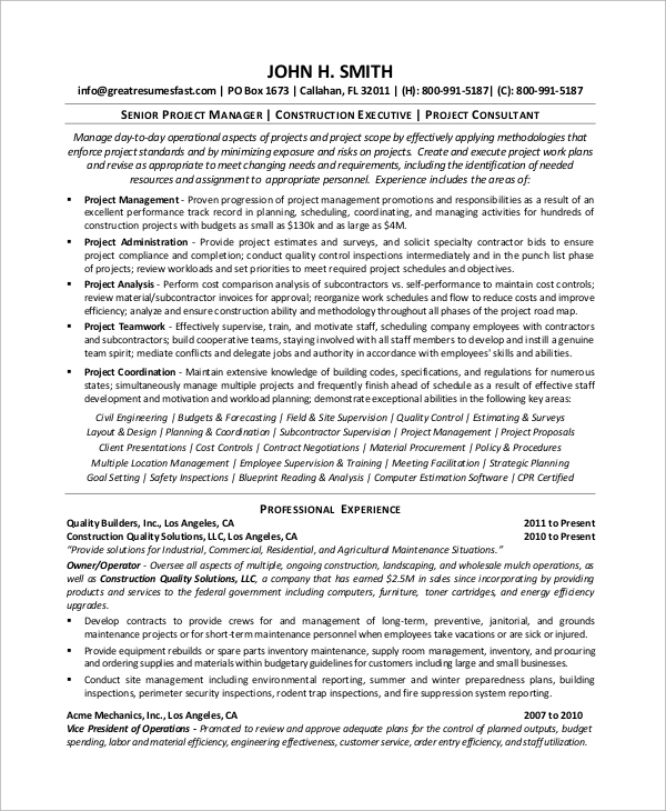 Construction Project Manager Resume from images.sampletemplates.com