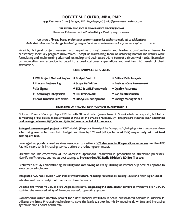 8 sample project manager resumes pdf word sample templates